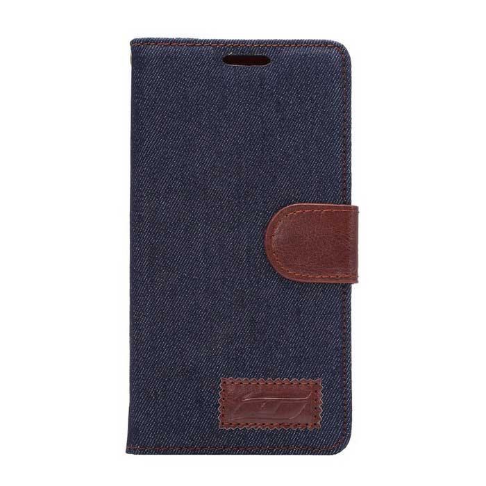 Denim Fabric Style Case w/ Stand, Card Slots for Xperia Z4 - Dark Blue