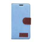 Denim Fabric Style Flip-Open PU Leather Case w/ Stand / Card Slots for SONY Xperia Z4