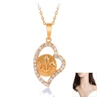 Fine Copper 18K Gold-plated Fashion Lovely Crystal Studded Elegant Heart Pendant Necklace - Golden