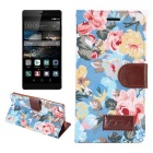 MO.MAT Retro Flowers Pattern PU + TPU Case w/ Stand for Huawei P8 - Light Blue + Multicolor