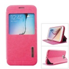 Ultra-thin PU + TPU Flip-open Case w/ Stand / Display Window for Samsung Galaxy S6 - Deep Pink