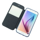 PU+TPU Case w/ Stand, Display Window for Samsung Galaxy S6 - Blue