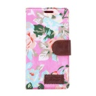 Flower Pattern Protective PU Case w/ Stand & Card Slot for Sony Xperia Z4 - Pink + Multicolored