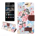 MO.MAT Retro Flowers Pattern PU + TPU Case w/ Stand for Huawei P8 - White + Multicolor