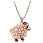 Women's Lovely Little Sheep Style Alloy + Imitation Pearls Pendant Necklace - Rose Gold