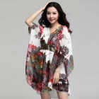Hot Stamping Sequin Stitching V-Neck Loose Chiffon Dress - White (Size XXL)