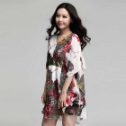 Hot Stamping Sequin Stitching Loose Chiffon Dress - White (XXL)