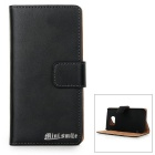 MINI SMILE Protective Split Leather + ABS Flip-open Case for Samsung Galaxy S6 Edge - Black