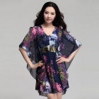 Hot Stamping Sequin Stitching V-Neck Loose Chiffon Dress - Blue (Size XXL)