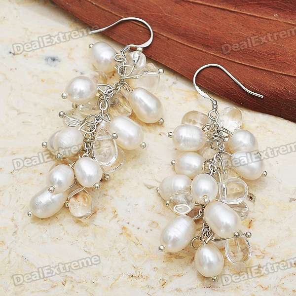 Elegant White Pearl with White Topaz Dangle Earrings