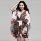 Hot Stamping Sequin Stitching V-Neck Loose Chiffon Dress - White (Size XXXL)