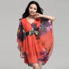 Hot Stamping Sequin Stitching V-Neck Loose Chiffon Dress - Red (Size XXXL)