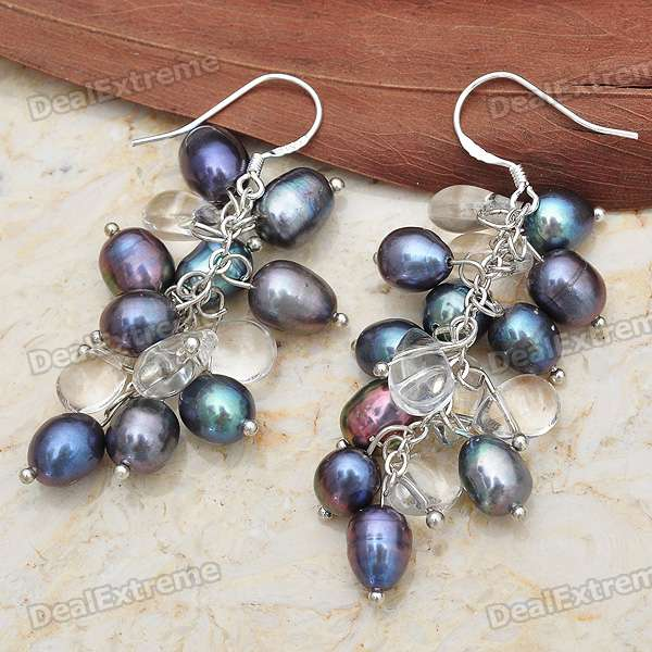Charming Black Pearl with White Topaz Dangle Earrings