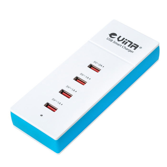 Vina UPS-001 20W 5A 4-Port USB Charger for phones - white + sky blue
