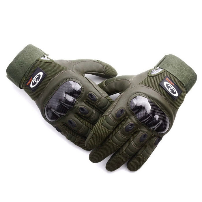 OUMILY Outdoor Tactical Full-Finger Gloves - Army Green (Size L Pair)