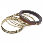 Bohemia Style Bronze Filigree with Wood Cuff Bangle Bracelet Fashion Jewelry