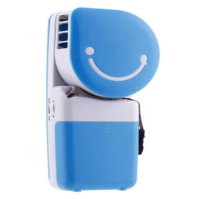 Mini Portable Smile Face Style Air Conditioning Fan w/ USB - Blue + White