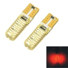 CARKING T10 1.2W Silicone Car Clearance Lamps Red Light 700nm 98lm 6-SMD 5050 (12V / 2 PCS)