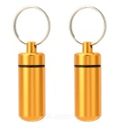Outdoor Pill Tablet Storage Case Keychain - Golden (2PCS)