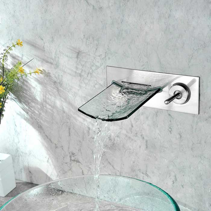Wall-Mounted Nickel Copper Waterfall Bathroom Sink Faucet - SilverBath Faucets<br>Form ColorAntique SilveryModelYDL-F-0633MaterialBrass + glassQuantity1 DX.PCM.Model.AttributeModel.UnitFinishOthers,NickelFaucet Spout MaterialGlassFaucet Body MaterialBrassFaucet Handle MaterialBrassStyleContemporaryOther FeaturesInstallation Type: Wall Mounted; <br>Installation Holes: Two Holes; <br>Number of Switches: One; <br>Cold and Hot Switch: Yes; <br>Valve Type: Ceramic;<br>Standard 1/2 Threads;<br>Spout Width: 13cm; <br>Spout Length: 18cm;<br>Handle Length: 10.5cm.Packing List1 x Faucet body 1 x Hose (20cm)1 x Screw1 x Expansion particle<br>