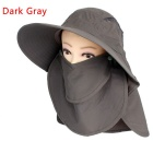360 Degrees Sun Blocking UV Care Removable Outdoor Hiking Fishing Hat Cap - Deep Gray