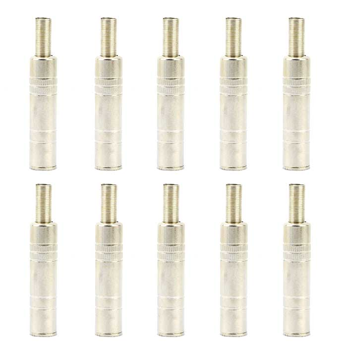 Jtron 6.5mm Female 3-Core Welding Microphone Plug - Silver (10 PCS)