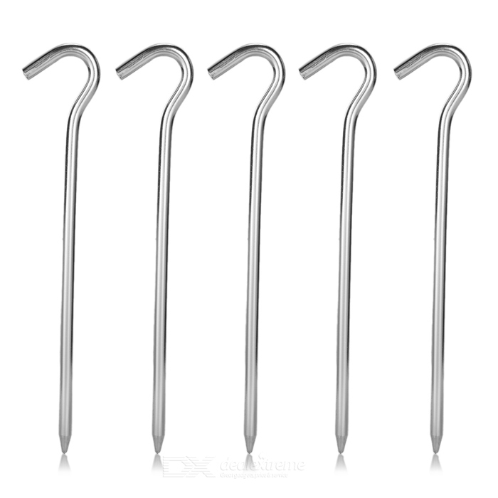 Outdoor Camping Aluminum Alloy Tent Stakes Set - Silvery White (5 PCS)