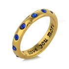 """I LOVE YOU MORE"" Lettering Rhinestone-studded Stylish Zinc Alloy Ring - Golden (US Size 8.5)"