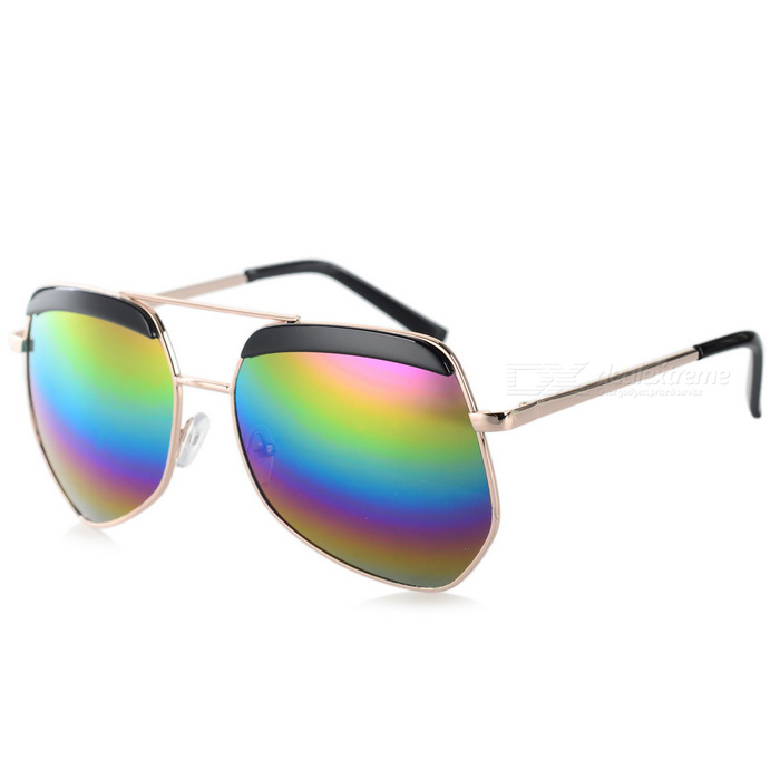 Fashionable UV400 Protection Resin PC Lens Sunglasses - Light Golden