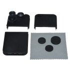 4-in-1 Fish Eye + Marco + Wide-Angle + 2X Telephoto Lenses Back Case for IPHONE 5 / 5S - Black