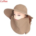 360 Degrees Sun Blocking UV Care Removable Outdoor Hiking Fishing Hat Cap - Coffee