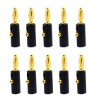 Jtron 4mm 10 x Audio Speaker Screw Banana Gold Plate Plugs Connectors - Black (10 PCS)