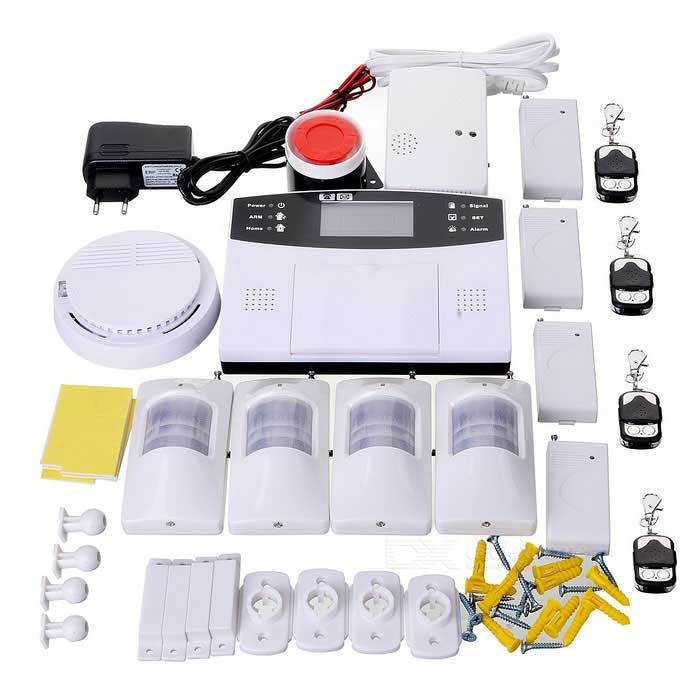 GSM Burglar Alarm System w/ 2.7 Screen - White (EU Plug)Alarm Systems<br>Form  ColorWhite + BlackPower AdapterEU PlugMaterialABSQuantity1 DX.PCM.Model.AttributeModel.UnitScreen Size2.7 DX.PCM.Model.AttributeModel.UnitRemote Control Range60 DX.PCM.Model.AttributeModel.UnitVoice Decibels120Power AdaptorYesPower SupplyNI-HI 6 x AAA; 800mAh 7.2VWorking Temperature-10~50 DX.PCM.Model.AttributeModel.UnitWorking HumidityWorking Frequency433MHzBattery included or notYesBattery Number1Rated Current25 DX.PCM.Model.AttributeModel.UnitRate Voltage12VCertificationCE, ROHSOther FeaturesGSM Frequency: 850/900/1800/1900MHzPacking List1 x Burglar alarm4 x Remote controllers (Built-in 1 x 27A battery)4 x Door contacts (1 x 23A battery)4 x 23A batteries8 x Magnetic stripe8 x Adhesive tapes1 x Smoke detector (1 x 9V 6F22 included)4 x Detector (Built-in 1 x 9V)1 x English manual1 x 100~240V EU plug power adapter (129cm)1 x Gas detectors (250V US plug cable: 143cm)1 x EU plug adapter1 x Siren (cable length: 80cm)4 x Pairs of fixing wall buckle<br>