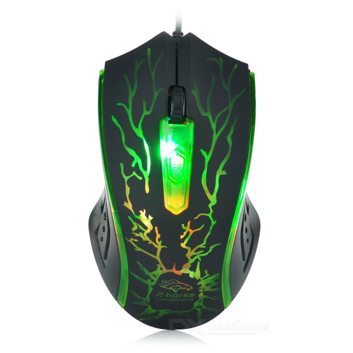 R.Horse USB 2.0 kablet fargerike lys LED Gaming mus - Green + Black