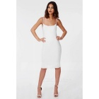 Fashion Sexy Women's Summer Cool Backless Sleeveless Silky Dress - White (Size L)
