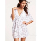 Fashion Casual Beach Women's Middle-Sleeve Deep V-Neck Lace Short Dress - White (Free Size)