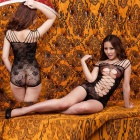 Italian Style Knitted Shoulder Strap Hollowed-out Lace Bodystocking Sexy Lingerie - Black