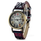 Women's Retro Style Nylon Band Analog Quartz Wrist Watch - Bronze + Black + Multi-Color (1 x 377)