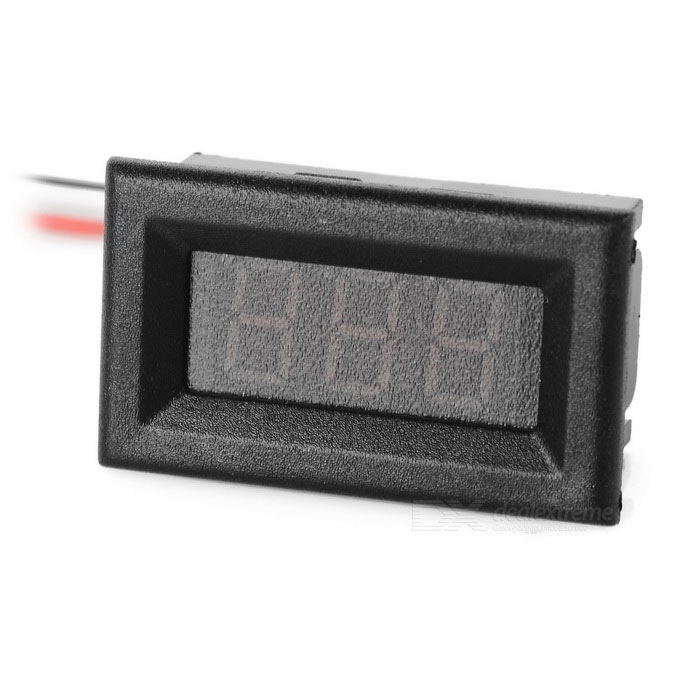 DIY 0.36 3-Digit 2-Wire DC 2.7~30V Green Light LED Digital Voltmeter Voltage Display Module - BlackDIY Parts &amp; Components<br>Quantity1 DX.PCM.Model.AttributeModel.UnitForm ColorGreenMaterialPlastic + iron + PCBEnglish Manual / SpecNoOther FeaturesMeasurement range: DC 2.7~30V; Hole size: 34.5 x 18.5mm; Mini. input voltage: When voltage is lower than the mini. input voltage, the value displayed will be incorrect or no display; Max. input voltage: DC 30V (would burn when higher than this voltage); Permissible error:  1%, 10V: 0.1V; Wire length: 20cm; Display: Green light; Refresh rate: about 200ms per time; Power supply: power free; Current consumption: CertificationNoPacking List1 x Display module<br>