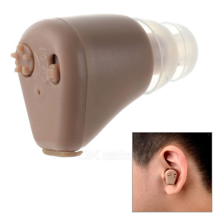 In-Ear Hearing Aid w/ Volume Adjustable / Power Switch - BrownHearing Aids<br>Form ColorLight BrownMaterialABSQuantity1 DX.PCM.Model.AttributeModel.UnitShade Of ColorBrownEar CouplingIn-EarSensitivity30dBTHD1000Hz, NoiseMaximum Loudness110 ±5dBCable Length0 DX.PCM.Model.AttributeModel.UnitFrequency Response300~4000HzBattery included or notYesPower SupplyOthers,Built-in batteryWorking Voltage   1.5 DX.PCM.Model.AttributeModel.UnitWorking Current12~20 DX.PCM.Model.AttributeModel.UnitOther FeaturesThe capacity of the NI-MH battery of hearing aid is 1.2V 40mAh and it can word for about 24 hours continuously after fully charged.Packing List1 x Hearing aid4 x Ear buds1 x Hanging strap1 x EU plug 100~240V charger (80cm)1 x English manual1 x Pendant<br>