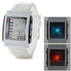 D3009 Stylish Silicone Band Analog + Digital Quartz Sports Watch w/ Backlight - White + Black
