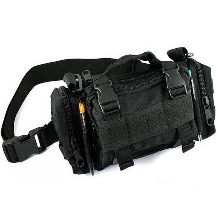 Hiking Shoulder Messenger Bag Waist Pack Bag Cycling Bag - Black