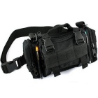 Unisex Outdoor Hiking Shoulder Messenger Bag Waist Pack Bag Cycling Bag - Black
