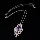 Colorful Zircon Imitation Pearls Inlaid Pendant Necklace - Silver