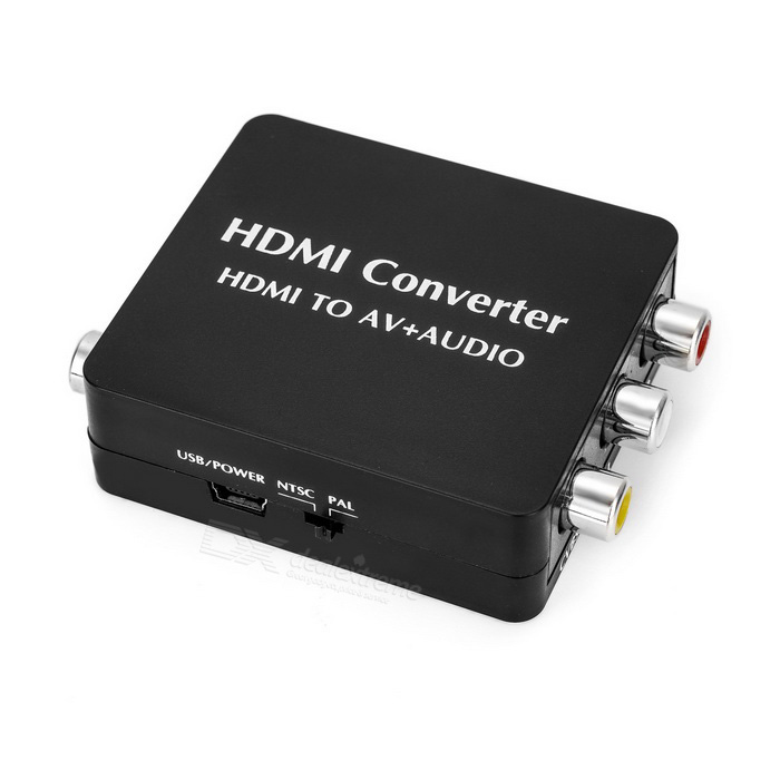 HDMI to AV + Audio ConverterAV Adapters And Converters<br>Form ColorBlackMaterialABSQuantity1 DX.PCM.Model.AttributeModel.UnitShade Of ColorBlackConnectorHDMI,Mini USB,Others,RCA,SDIF/COAXPacking List1 x Converter1 x Data cable (80cm)<br>