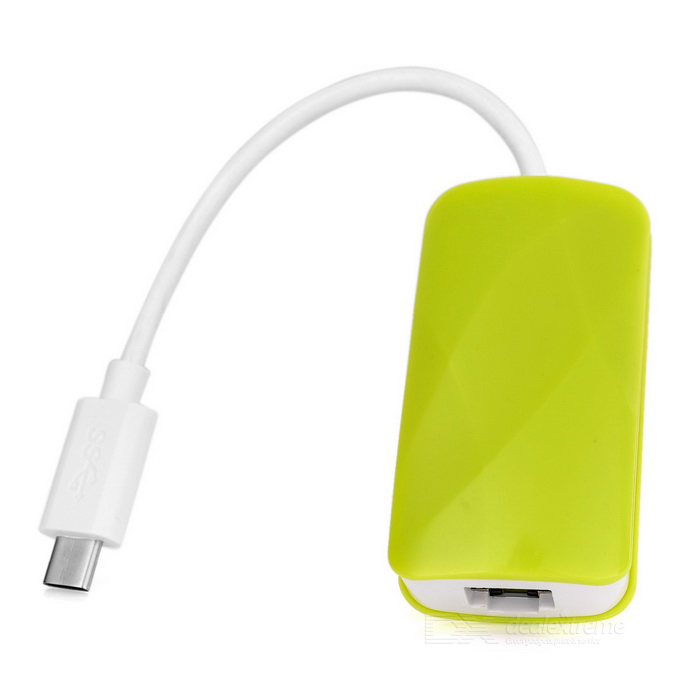 USB 3.1 Type-C to USB Hub + RJ45 Adapter - Green + White (14cm-Cable)