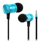 Universal 3.5mm Jack Plug In-Ear Wired Earphones Headphones w/ Mic & Wire Control - Blue + Black