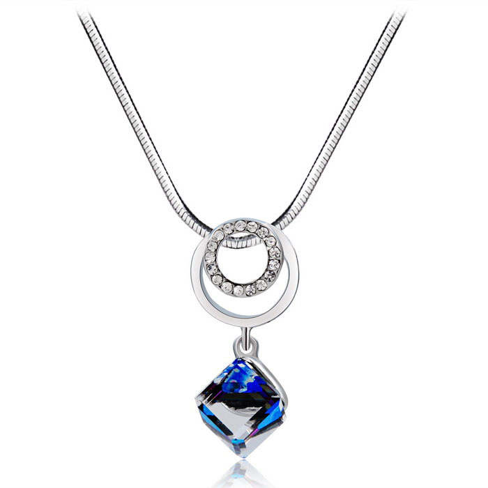 Women's Blue Cube Stone Alloy + Crystal Pendant Necklace - Silver