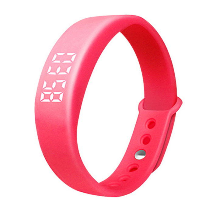 W5 Multifunctional LED USB Smart Bracelet Watch w/ 3D Pedometer - Red