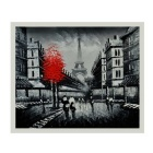 Landscope Hand Painted Impression of Paris Oil Painting - Black
